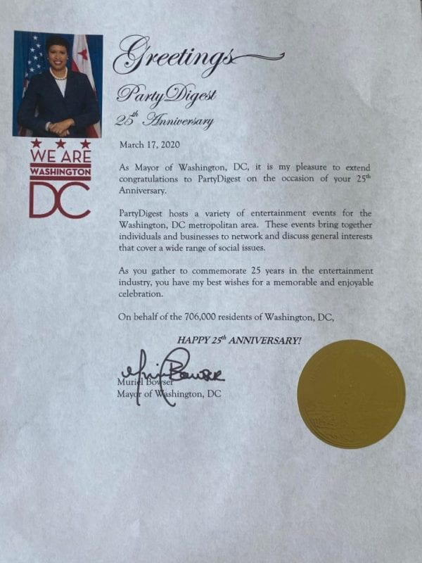 Congratulations from the mayor of DC